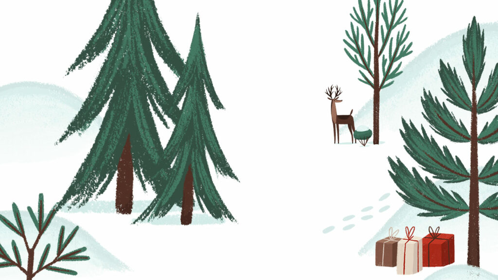 Winter Scene With 3 Gifts